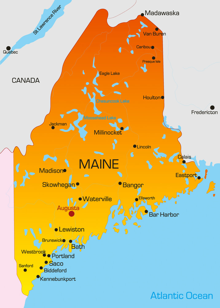 Vector color map of Maine state. Usa