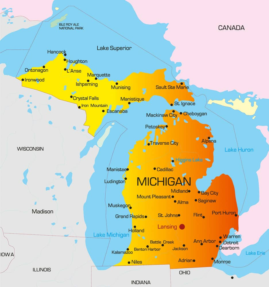 Vector color map of Michigan state. Usa