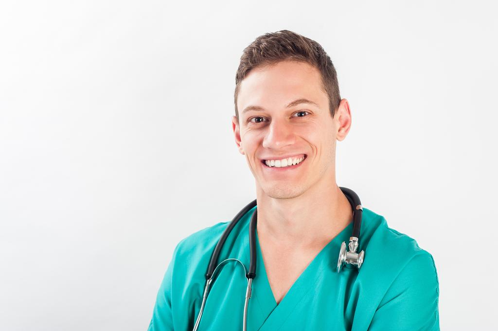 b42ee2e32e2f9 Male nurse or young man doctor smiling